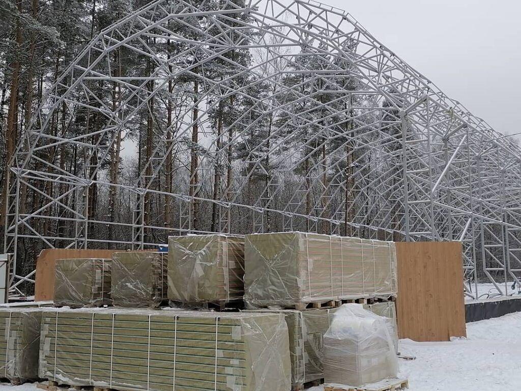 Строительство ангара зимой